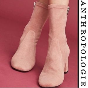 Anthropologie Pink Suede Stretch Boots